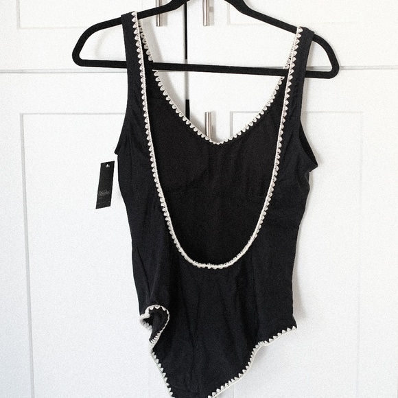 Black Mossimo Embroidery Trim Scoop Back One Piece Swimwear Various Sizes